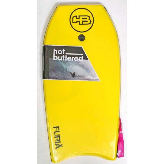 Hot Buttered Furia Bodyboard 41.5 YELLOW (บอดี้บอร์ดและสายโยง ขนาด 41.5 นิ้ว)