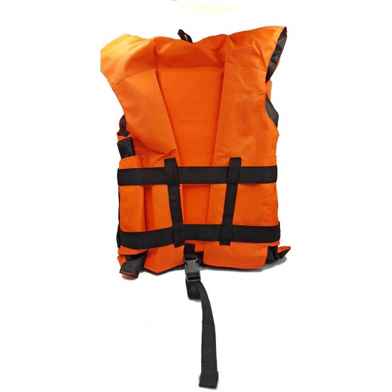 Deep Blue Life Jacket Vest with Collar and Emergency Whistle
