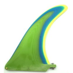 Pump 3 Layer Resin Longboard Fin 9 inch-Green-Blue-Yellow-Raw