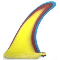 Pump 3 Layer Resin Longboard Fin 9 inch-Yellow-Red-Blue-Raw