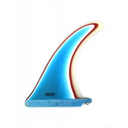 Pump 4 Layer Resin Longboard Fin 10 inch-Blue-White-Red-Clear