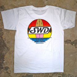 Saltwater Dreaming T-Shirt-Surfboard Sunset -White