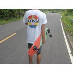 Saltwater Dreaming T-Shirt-Surfboard Sunset -White