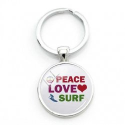 Surfers Key Ring-Peace,Love,Surf